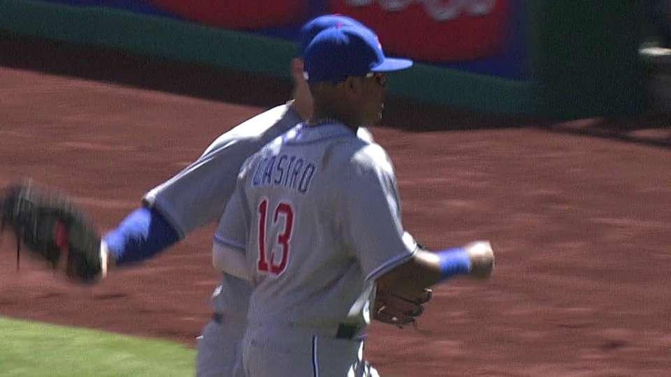 Castro turns nice double play