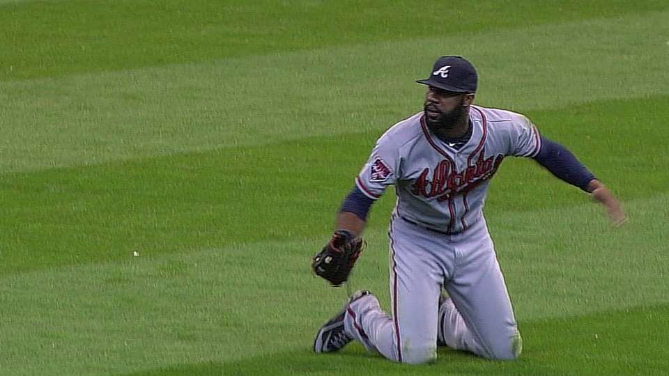 Heyward's sliding catch in ninth