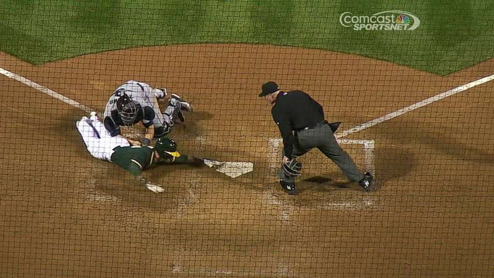 Umpires review Zunino's block