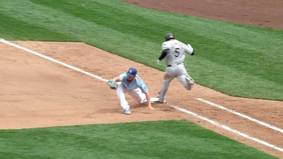 Royals challenge play at first