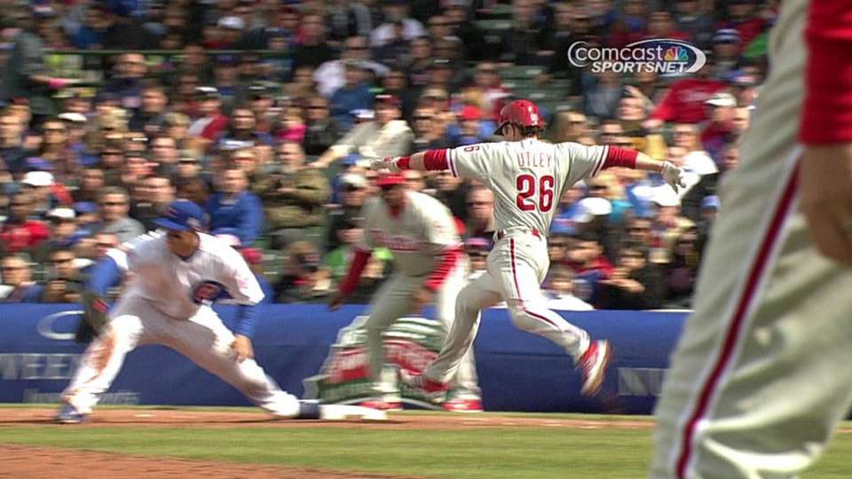 Phillies challenge out at first