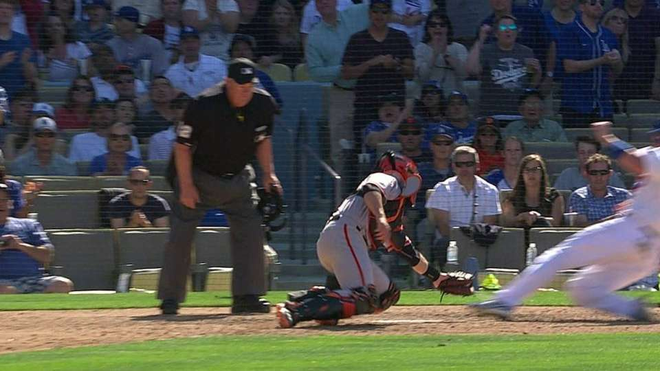 Dodgers challenge play at plate