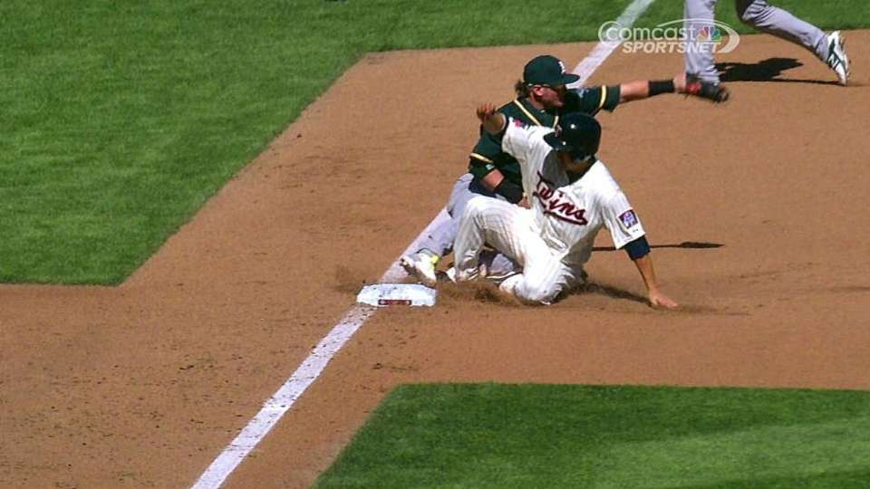 A's challenge call at third
