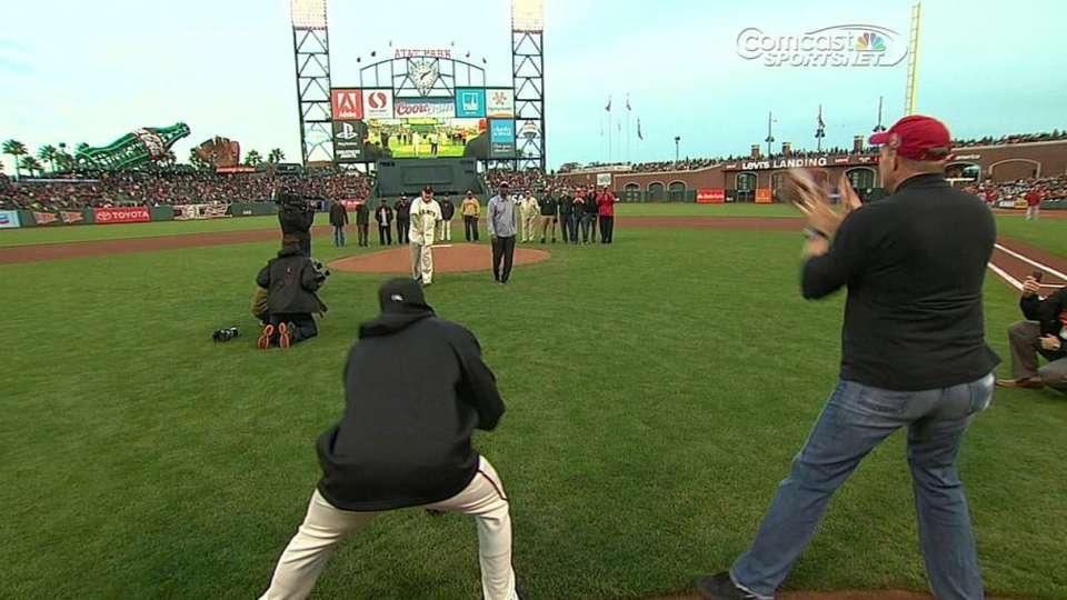 Craig, Turner throw first pitch