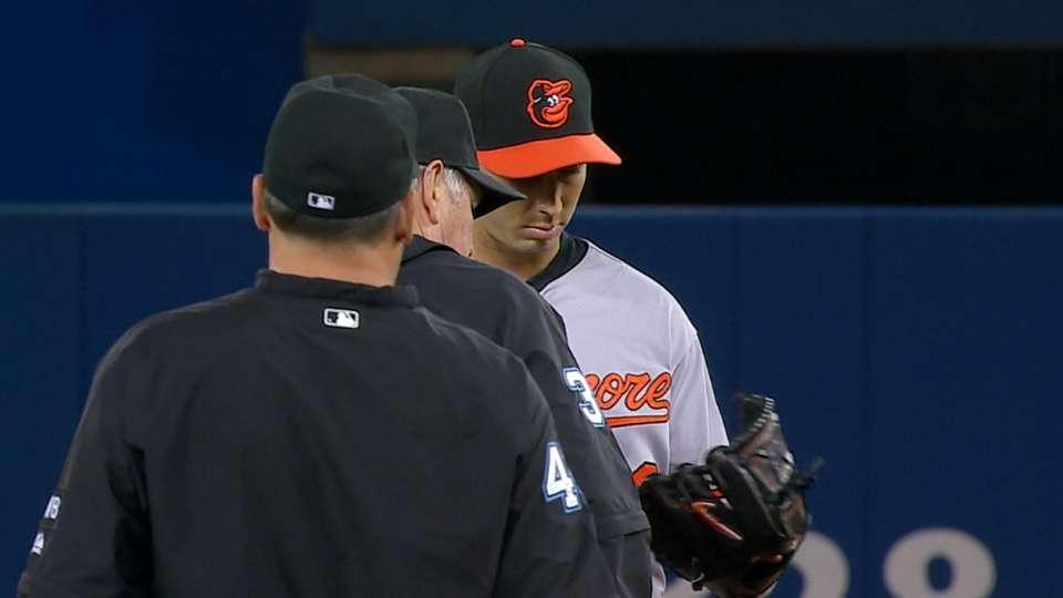 Umps check Gonzalez's glove