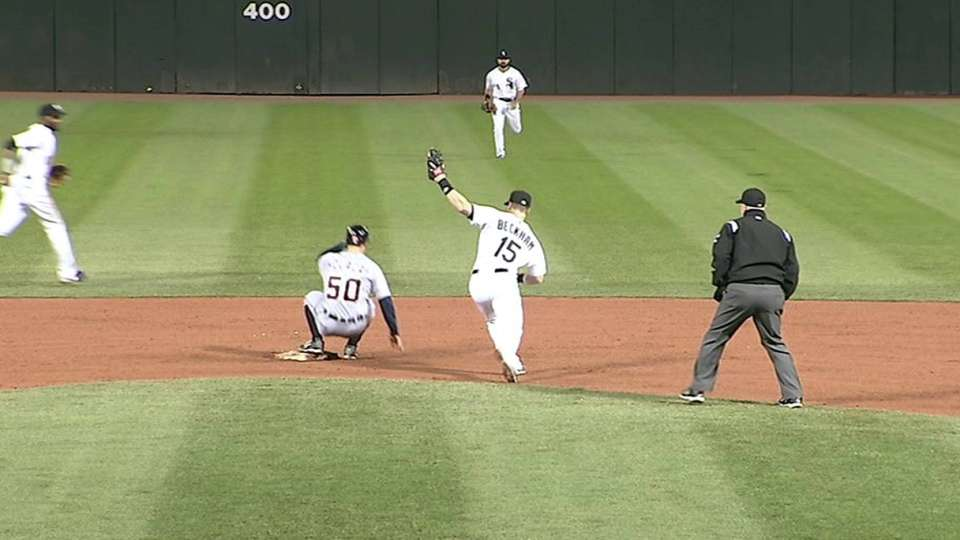 Holaday's first MLB stolen base
