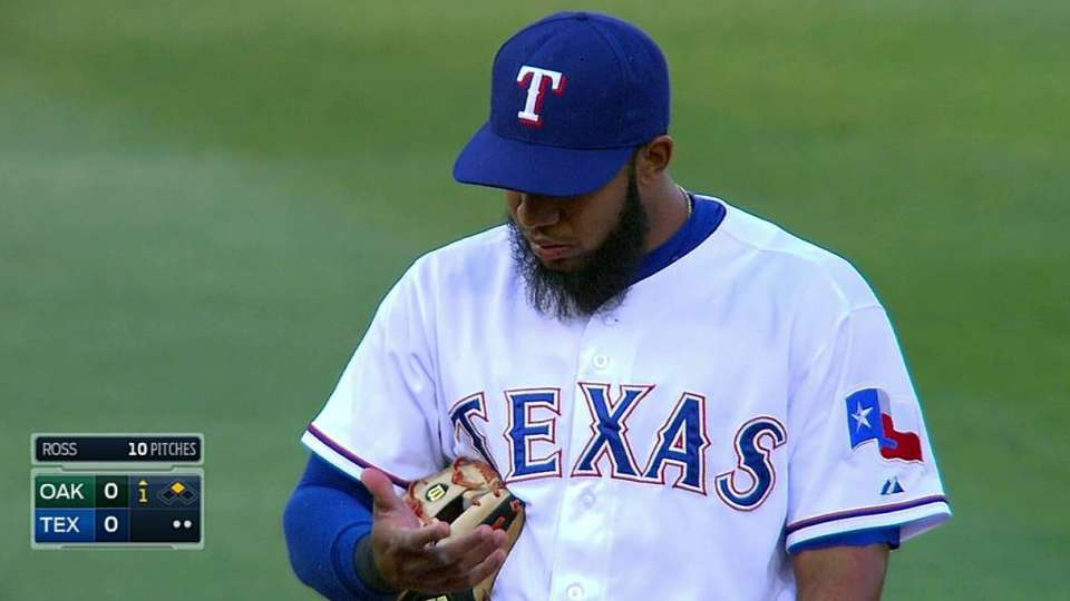 Andrus struck by ground ball
