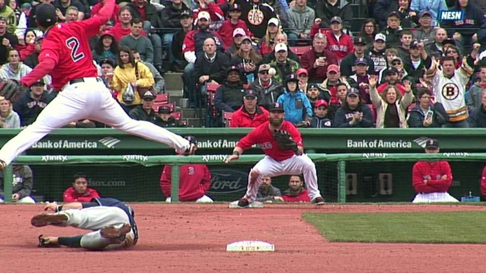 Pedroia starts double play