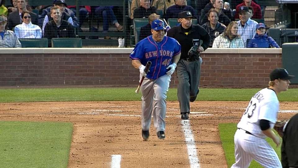 Colon runs down line with bat