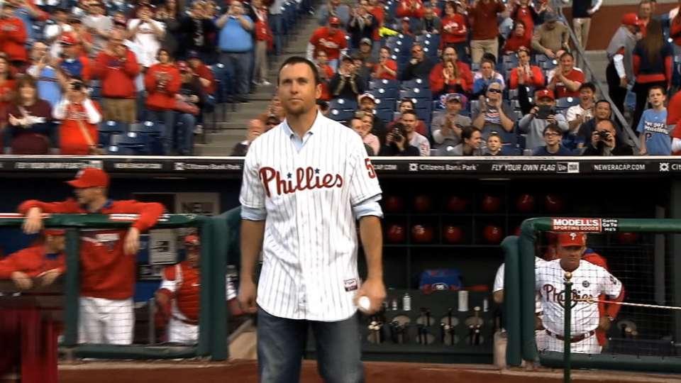 Brad Lidge throws first pitch