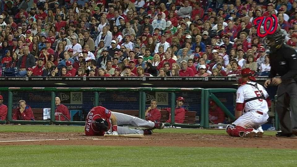 Lobaton hit by a pitch