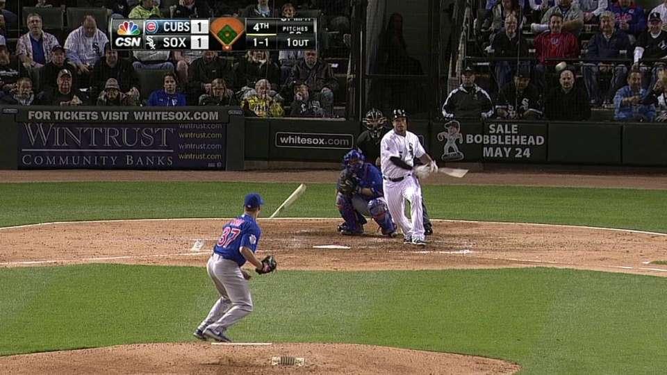 Wood gets hit by broken bat