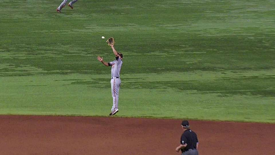 Hardy's leaping grab at short