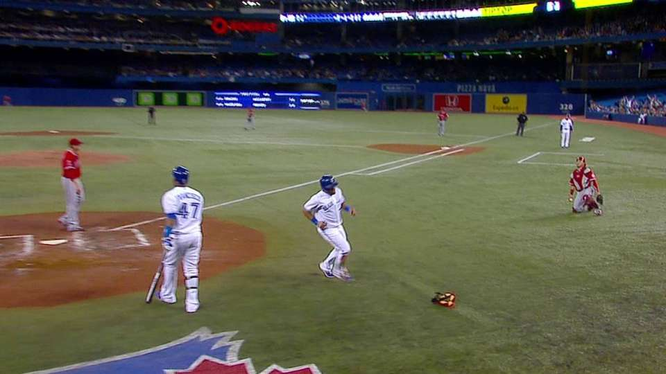 Melky scores on a wild pitch