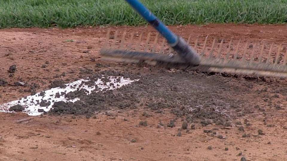 Grounds crew works on mound
