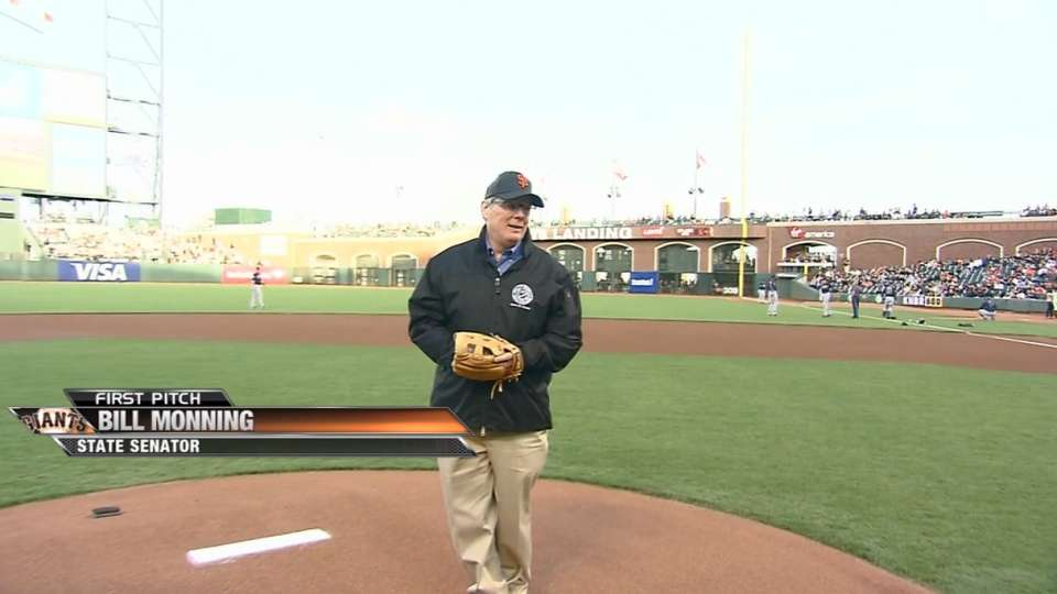 Monning tosses first pitch