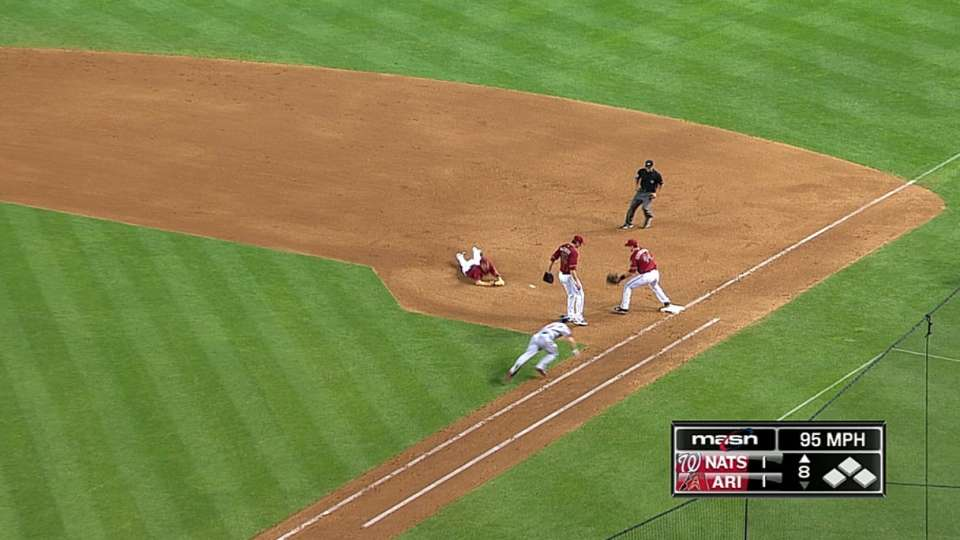 Hill rolls it to Goldy for out