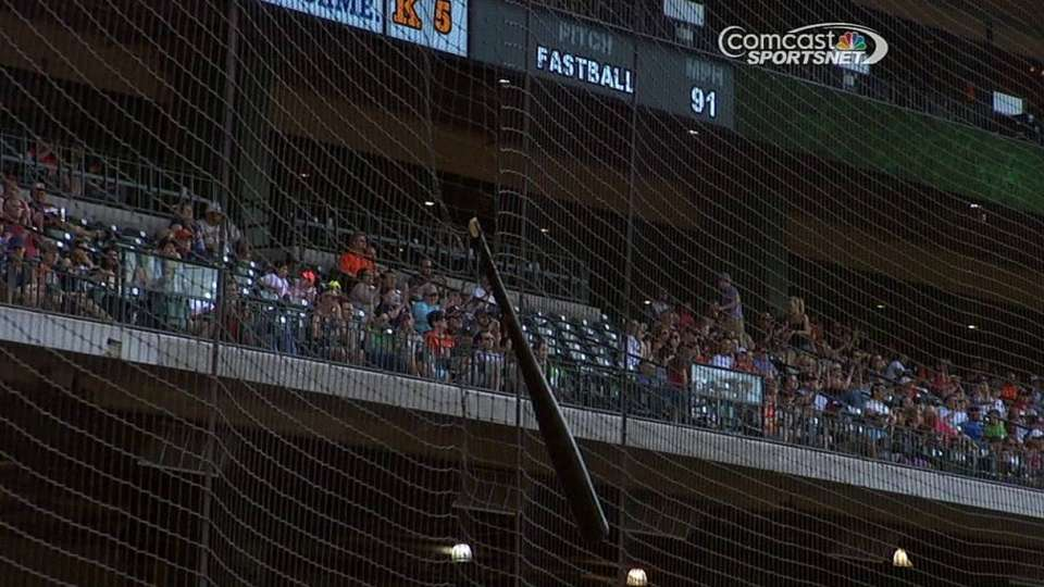 Flowers loses bat into netting