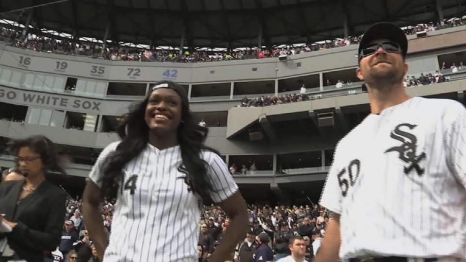 Aja Evans throws first pitch