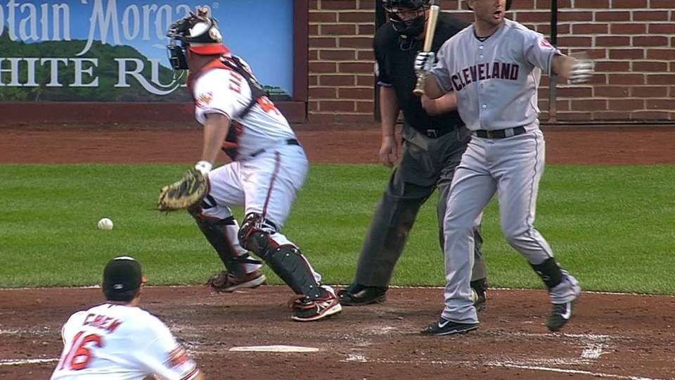 Brantley scores on a wild pitch