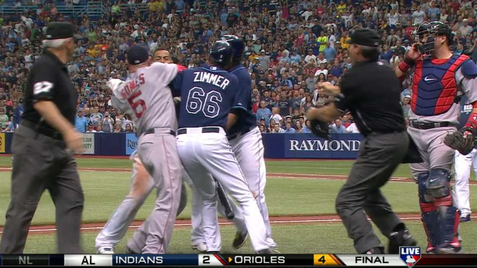 Benches clear at Tropicana Field