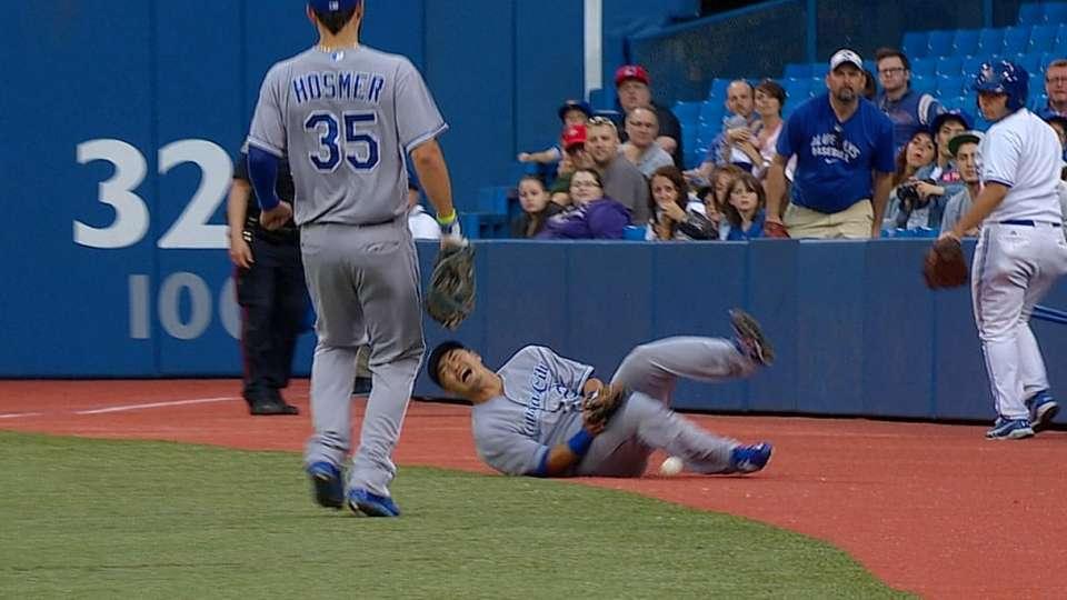 Aoki hit by foul ball