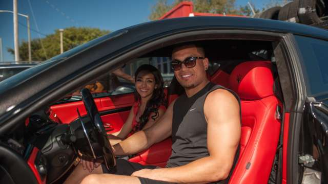 Giancarlo Stanton driving his Maserati