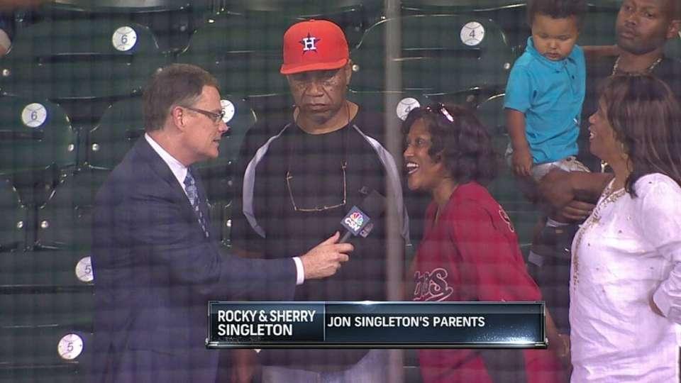 Singleton's parents on MLB debut