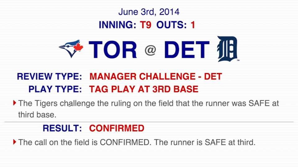 Tag play at third base confirmed