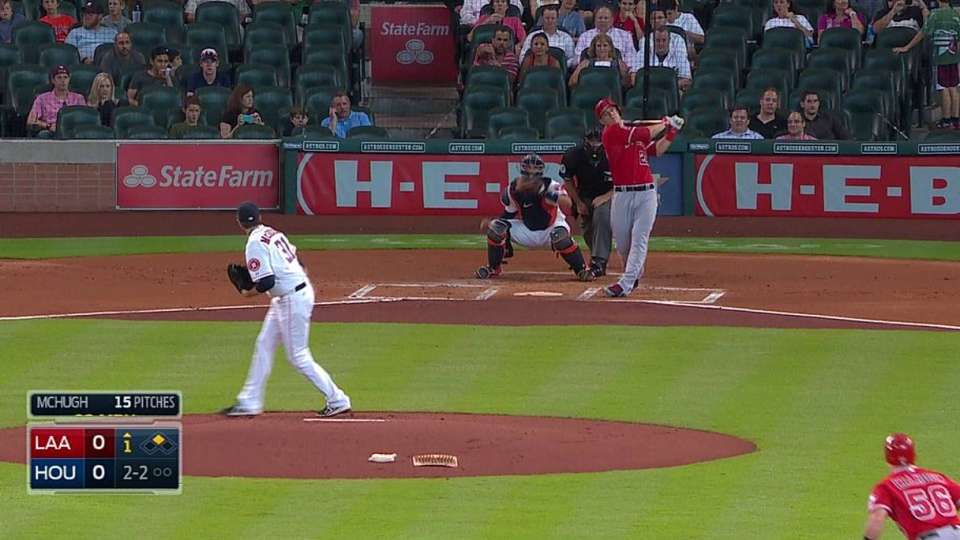 Trout exits after one AB