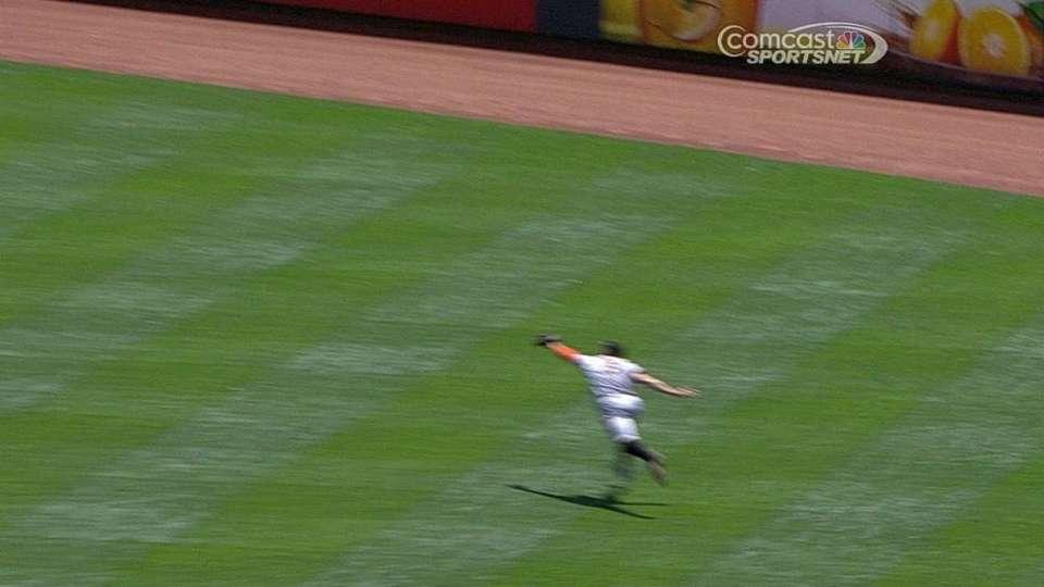 Pence's running catch