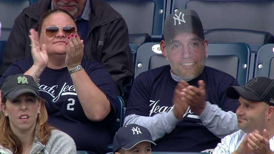 Yankees fan sports Jeter mask