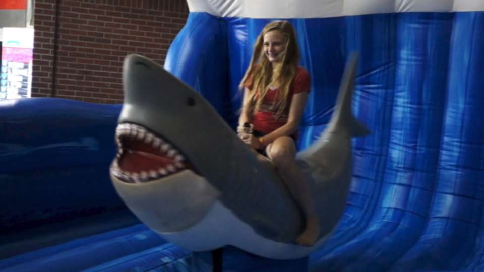Mechanical shark at Chase Field