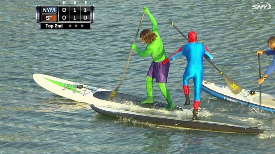 Superheroes race in McCovey Cove