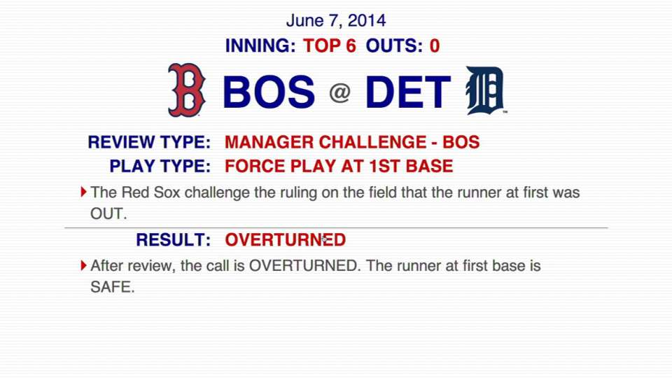 Red Sox challenge out call