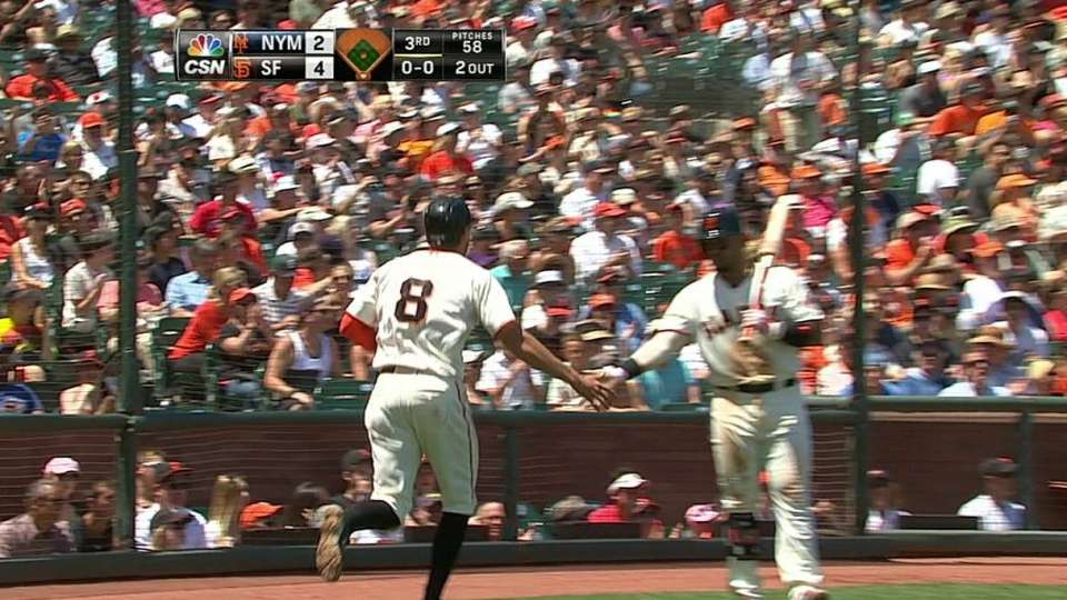 Pence scores on double play