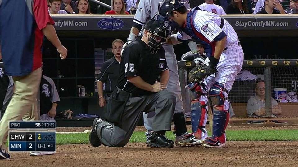 Umpire shaken up on pitch