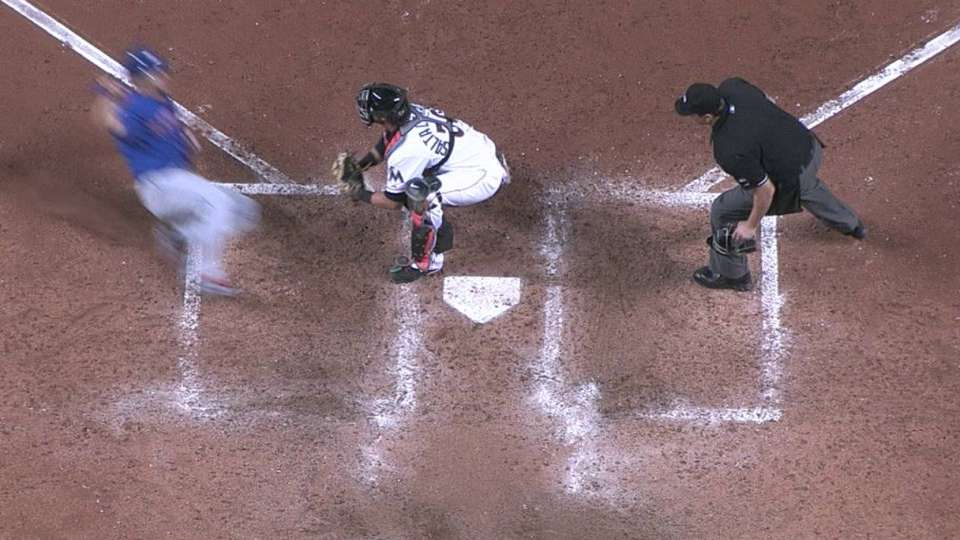 Umpires review play at plate