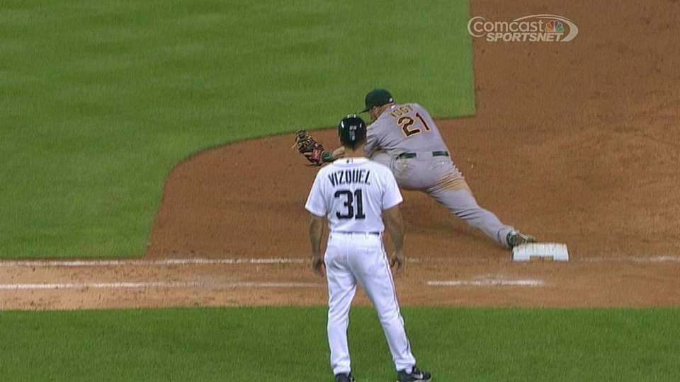 A's turn two on Cabrera