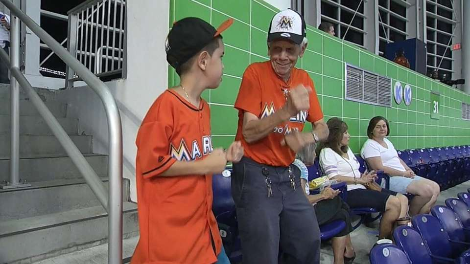 Dancing Marlins fan on his moves