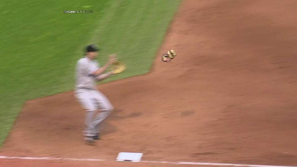 Abreu gets ball stuck in glove
