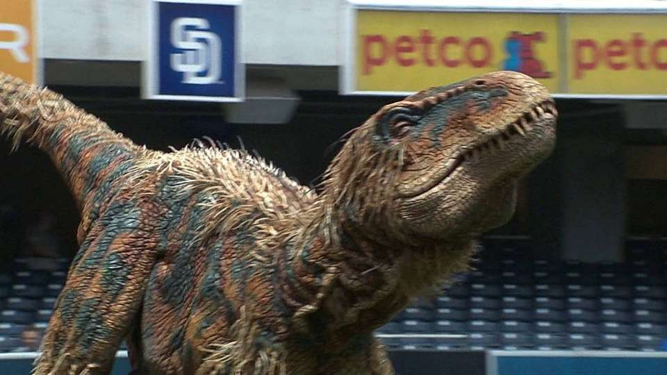 Baby T-Rex throws first pitch