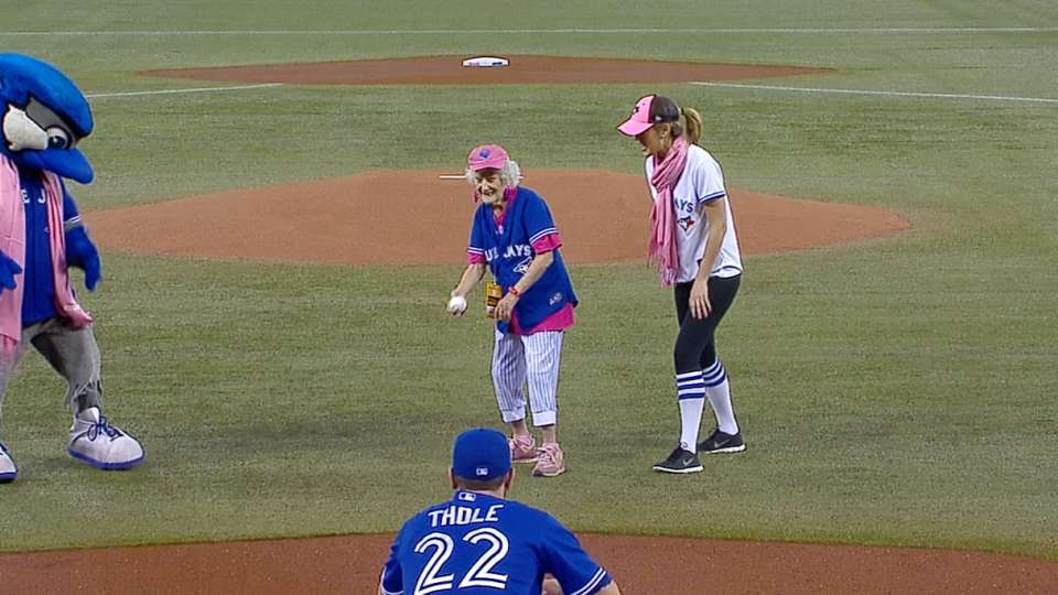101-year-old tosses first pitch