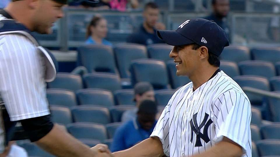 Espinoza tosses first pitch