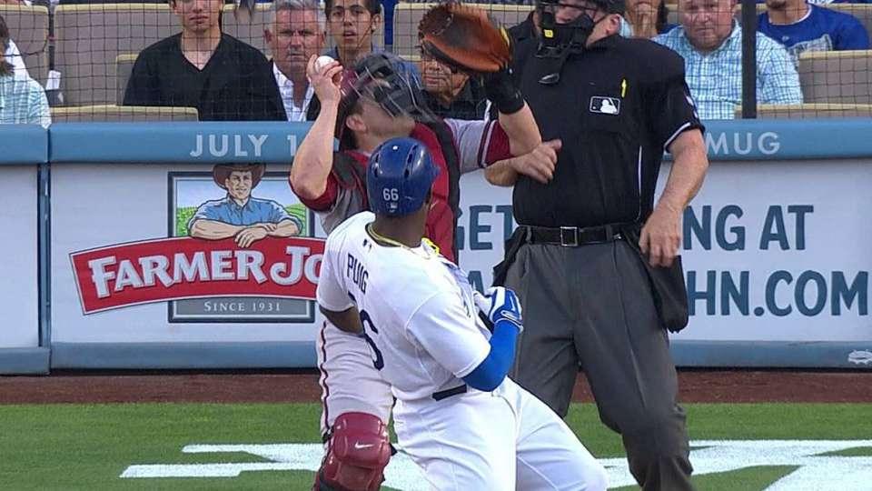 Puig's bat flip causes a scare