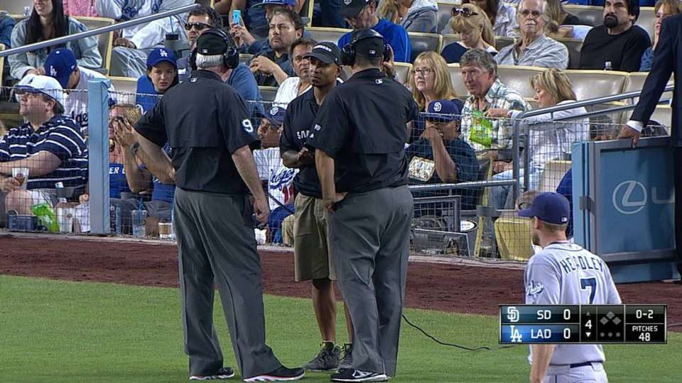 Dodgers challenge foul ball