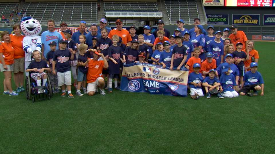 Kids get to play on Target Field