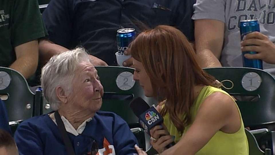 Fan celebrates her 91st birthday