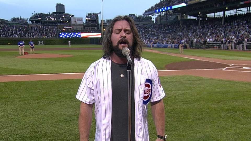Clay Cook sings anthem