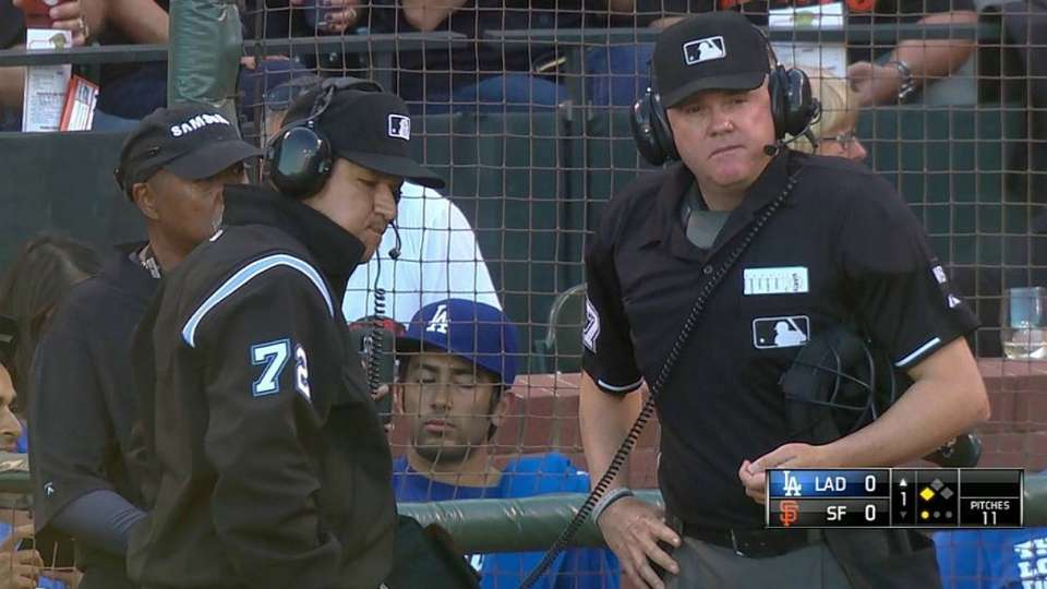 Umpires review Puig's triple